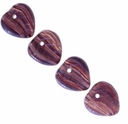Czech Hurricane Glass Plum Pudding 9mm Heart Bead(25PK)