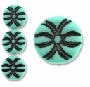 Nouveau Matte Turquoise Style Disc 13mm w/ Brown Inlay (12 PK)