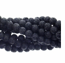 Black Lava 4mm Round Beads 16 Inch Strand