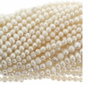 White Potato Freshwater Pearl 4-5mm Bead Strand