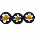 Black Glass Millefiori 8mm Flat Round Beads 16-Inch Strand