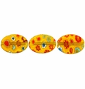 Millefiori Puffed Oval Glass Beads