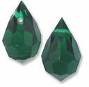 Czech 6 x 10mm Tear Drop Emerald Beads (1PR)