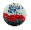 Ceramic 57mm Round Decorative Floral Pendant (1PC)