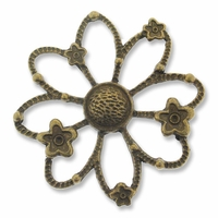 Antiqued Brass Large Flower Link (1PC)