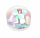 12mm Lt Rose  Floral Round Lampwork Beads (5PK)
