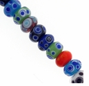 12mm Mixed Rondel Lampwork Beads (1 Strand)