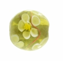 12mm Green Round Flower Lampwork Beads (5PK)
