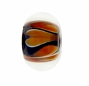 13mm  Brown & White  Rondel Lampwork Beads (5PK)