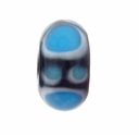 13mm Black, Blue & White  Rondel Lampwork Beads (5PK)