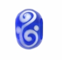 13mm Blue and White Rondel Lampwork Beads (5PK)
