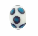 14mm White w/Blue Black Dot Design Rondel Lampwork Beads (5PK)