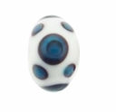 14mm White w/Blue Black Double Dot Design Rondel Lampwork Beads (5PK)