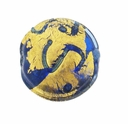13mm Royal Blue and Gold Foil Design Disc Lampwork Beads (5PK)