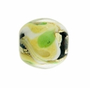 Green/Yellow Swirl Lampwork 12mm Round Beads (5 PK)