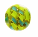 14mm Lime/Blue Ribbon Round Lampwork Glass Beads ( 1 Strand)