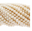 White 5-6mm Potato Freshwater Pearls Strand