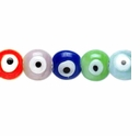 Turkish Glass Evil Eye 6mm Disc Mixed  Beads 16-inch Strand