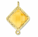 18K Gold Plated Faceted Citrine Crystal Cut Diamond 1-1 Connector (1PC)