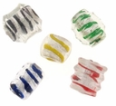 Swirl Silver Foil Glass Beads Mix (5 pcs)