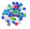 7x9mm Mixed Color Frosted Cube Beads (50G)