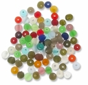 6mm Mixed Color Frosted Round Glass Beads (50G)