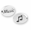 Music with Music Note Symbol Sterling Silver Message Bead