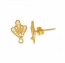 Gold Vermeil Filigree Fan Post Earring (1PR)
