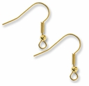 Gold Plated Fishhook Earwire with Ball (5 Pairs)