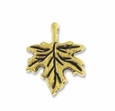 Antiqued Gold Maple Leaf Charm (5PK)