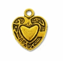 Antiqued Gold Ornate 15mm Heart in Heart Charm (1PC)