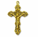 Antiqued Gold Large 55mm Crucifix Pendants (1PC)
