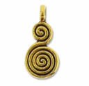 Antiqued Gold Spiral 17mm Calabash Charm (1PC)