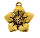 Antiqued Gold 17mm Flower Charm (1PC)