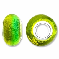 MIOVI� Lampwork Large Hole Beads w/SP Grommets 14x9mm Silver Foil Green/Yellow Design (6PK)