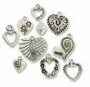 Antiqued Silver Mixed Heart Charms (10PK)