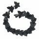 Black 20x30mm Butterfly Glass Beads 12 inch Strand