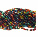 3mm Multi-Color Agate Round Beads 15 Inch Strand
