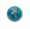 Cameo, Grace, White on Teal, 20mm Round Synthetic Cabochon(5PK)