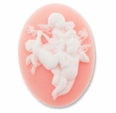Cameo, Angels, White on Lt. Coral, 40x30mm Oval Cabochon (5PK)