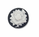 Cameo, Rose Flower, White on Black, 20mm Round Synthetic Cabochon (5PK)