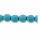 8mm Faceted Round Chalk Turquoise Beads 16 Inch Strand
