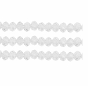 Opaque Milky White 3x4mm Faceted  Crystal  Rondelle Beads 11.8 Inch Strand