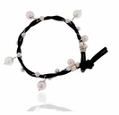 Black Leather and Pearl Bracelet Kit