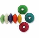 Mixed Color 9x5mm Saucer Wood Beads (50PK)
