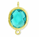 18K Gold Plated Faceted Aquamarine Crystal Cut Oval 1-1 Connector Connector(1PC)