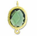 18K Gold Plated Faceted Olivine Crystal Cut Oval 1-1 Connector Connector(1PC)