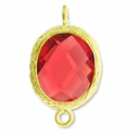 18K Gold Plated Faceted Rhodolite Crystal Cut Oval 1-1 Connector Connector(1PC)