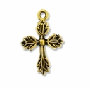 Antiqued Gold 20mm Decorative Cross (1PC)