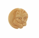 Hand Carved Bone 30mm Cat Curled Up Bead (1PC)
